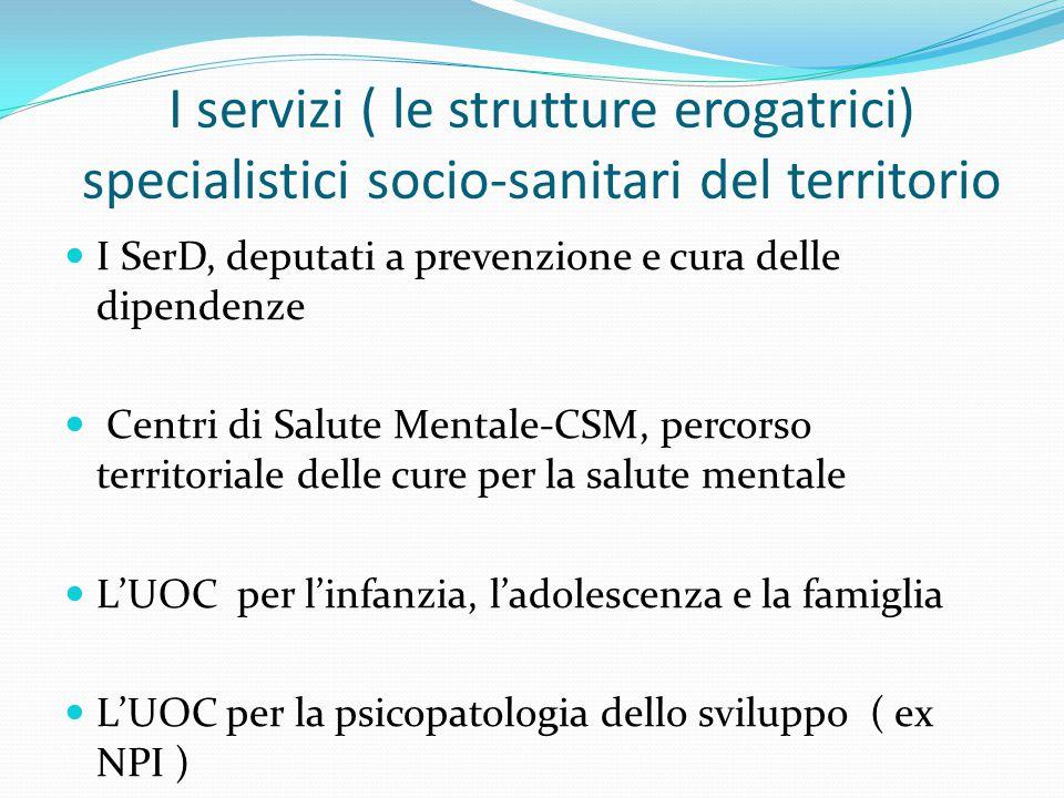 I servizi ( le strutture erogatrici) specialistici socio-sanitari del territorio I SerD, deputati a prevenzione e cura delle dipendenze Centri di Salu