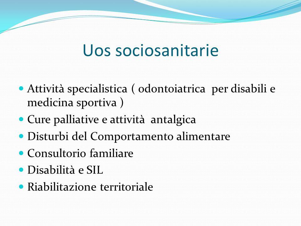Uos sociosanitarie Attività specialistica ( odontoiatrica per disabili e medicina sportiva ) Cure palliative e attività antalgica Disturbi del Comport