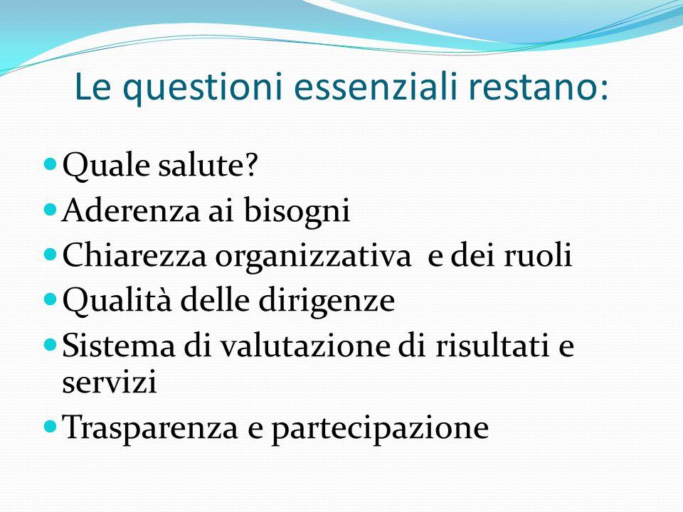Le questioni essenziali restano: Quale salute? Aderenza ai bisogni Chiarezza organizzativa e dei ruoli Qualità delle dirigenze Sistema di valutazione