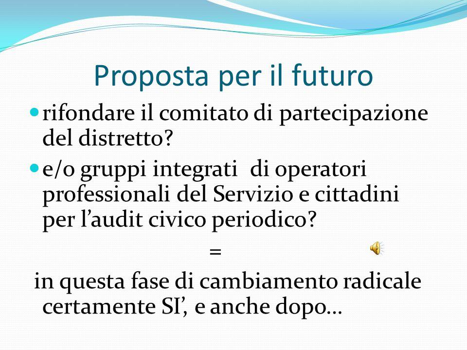 Proposta per il futuro rifondare il comitato di partecipazione del distretto? e/o gruppi integrati di operatori professionali del Servizio e cittadini