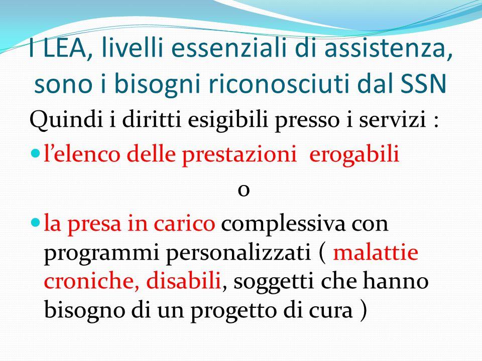 I LEA, livelli essenziali di assistenza, sono i bisogni riconosciuti dal SSN Quindi i diritti esigibili presso i servizi : l'elenco delle prestazioni
