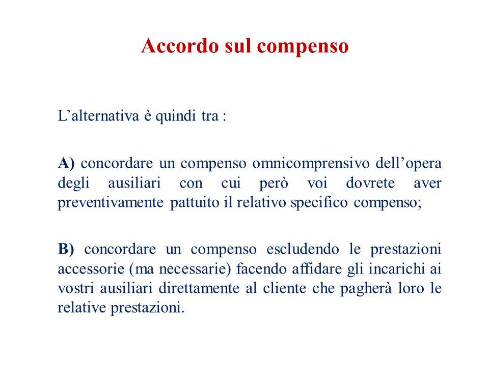 Domanda Se nel corso dell'esecuzione della prestazione cambiano i parametri per il calcolo del compenso.