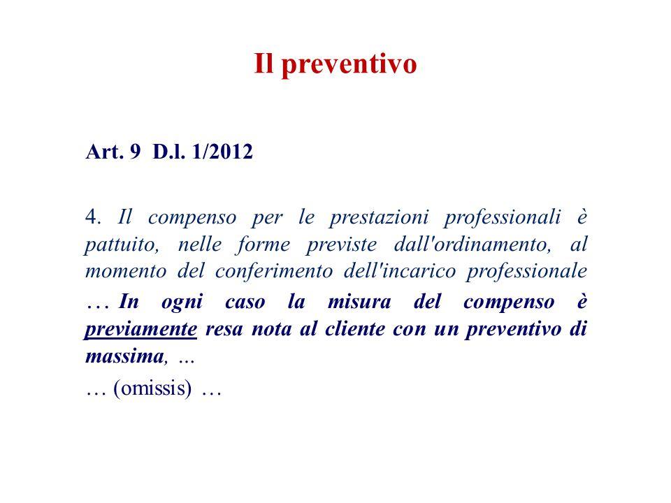 Art. 9 D.l. 1/2012 4. Il compenso per le prestazioni professionali è pattuito, nelle forme previste dall'ordinamento, al momento del conferimento dell