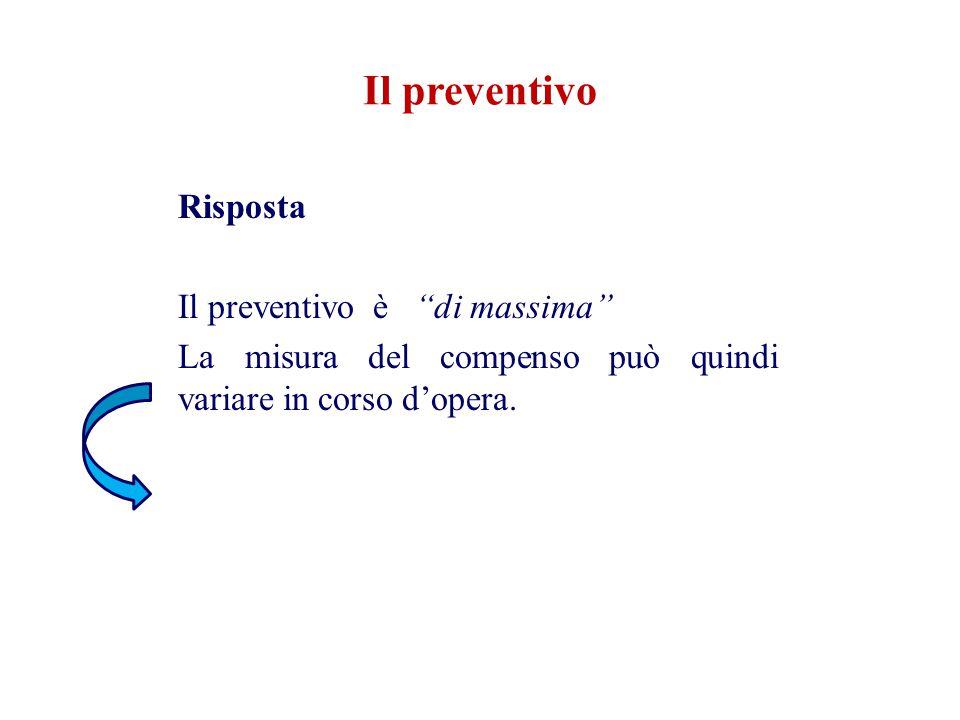 """Risposta Il preventivo è """"di massima"""" La misura del compenso può quindi variare in corso d'opera. Il preventivo"""