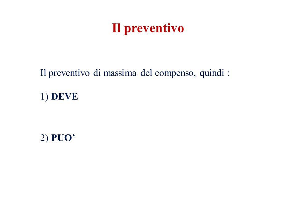 Il preventivo di massima del compenso, quindi : 1) DEVE 2) PUO' Il preventivo