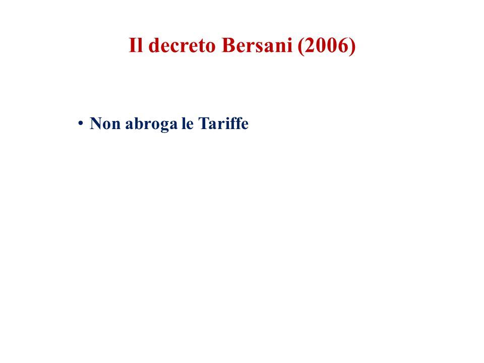 Non abroga le Tariffe Il decreto Bersani (2006)