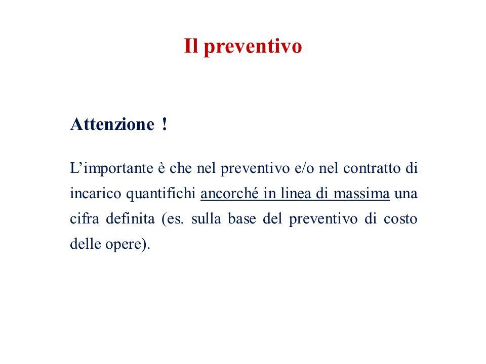 Attenzione ! L'importante è che nel preventivo e/o nel contratto di incarico quantifichi ancorché in linea di massima una cifra definita (es. sulla ba