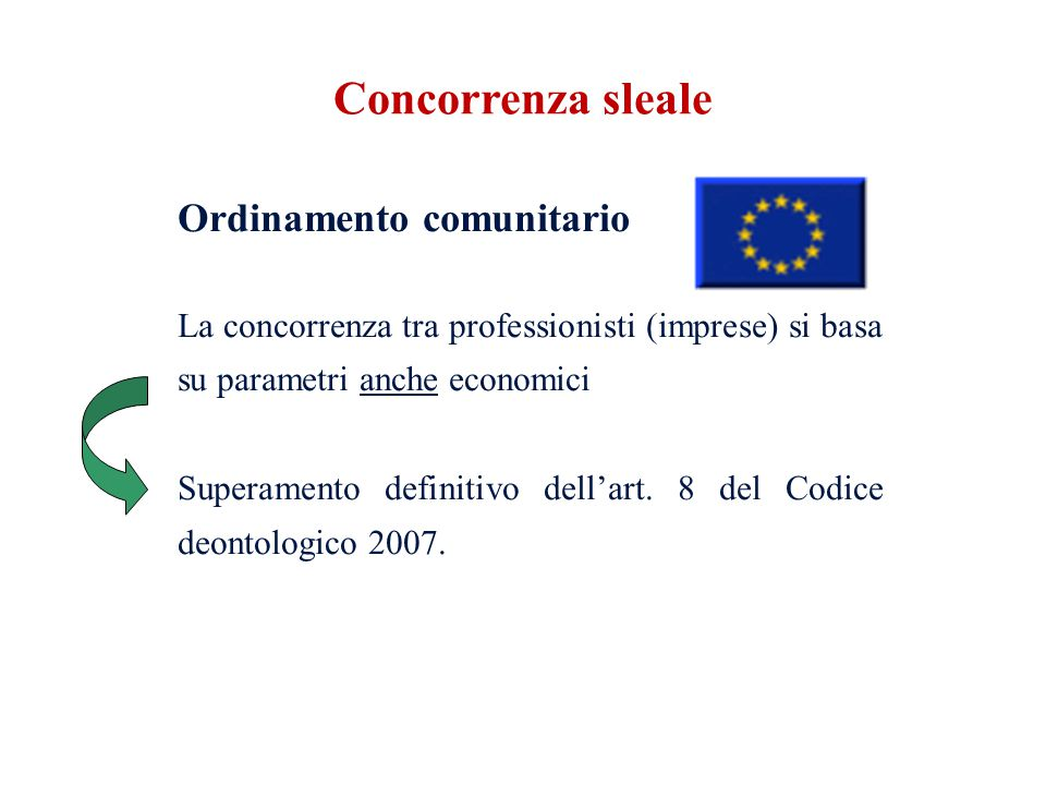 Ordinamento comunitario La concorrenza tra professionisti (imprese) si basa su parametri anche economici Superamento definitivo dell'art. 8 del Codice
