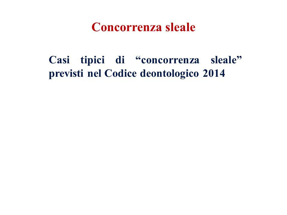 Casi tipici di concorrenza sleale previsti nel Codice deontologico 2014 Art.