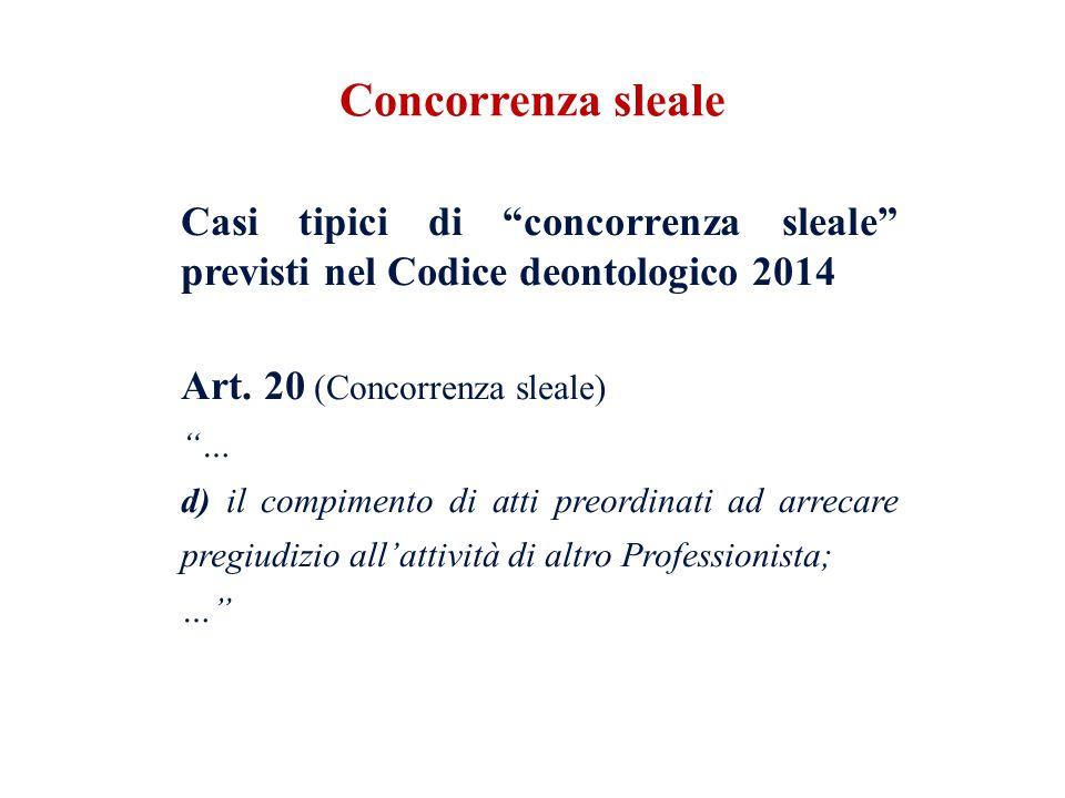 """Casi tipici di """"concorrenza sleale"""" previsti nel Codice deontologico 2014 Art. 20 (Concorrenza sleale) """"… d) il compimento di atti preordinati ad arre"""