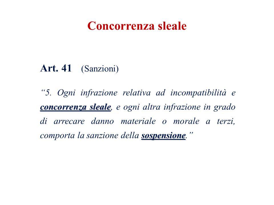 """Art. 41 (Sanzioni) concorrenza sleale sospensione """"5. Ogni infrazione relativa ad incompatibilità e concorrenza sleale, e ogni altra infrazione in gra"""
