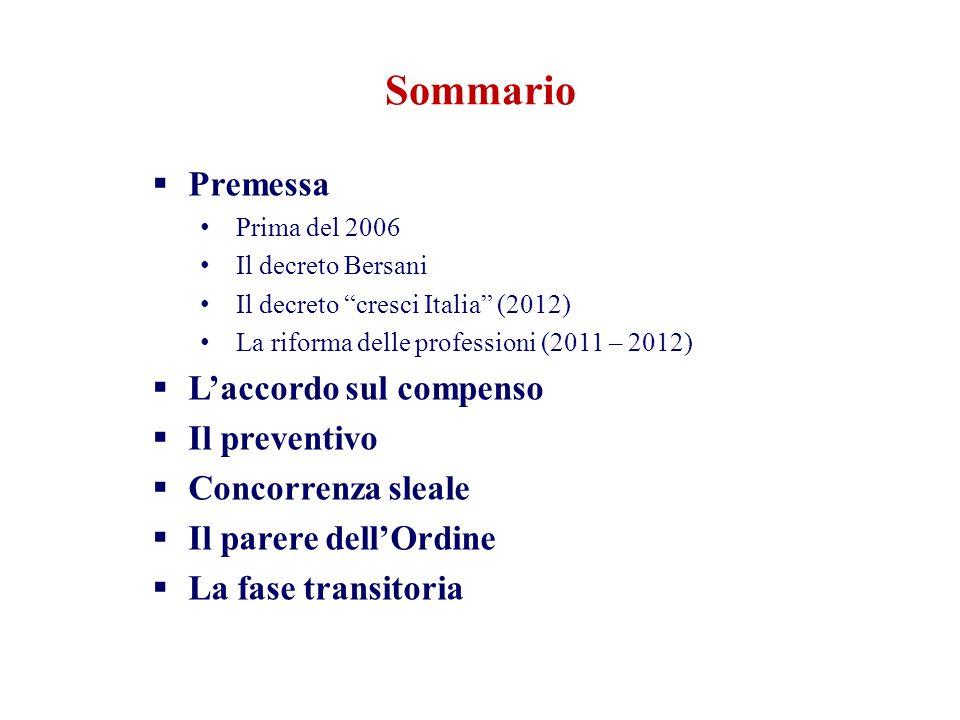 """Sommario  Premessa Prima del 2006 Il decreto Bersani Il decreto """"cresci Italia"""" (2012) La riforma delle professioni (2011 – 2012)  L'accordo sul com"""