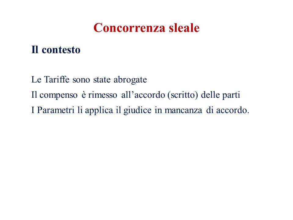 Il contesto Le Tariffe sono state abrogate Il compenso è rimesso all'accordo (scritto) delle parti I Parametri li applica il giudice in mancanza di ac