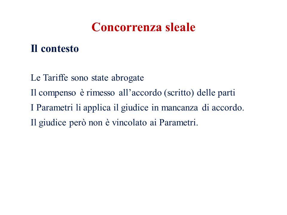 Il contesto Le Tariffe sono state abrogate Il compenso è rimesso all'accordo (scritto) delle parti I Parametri li applica il giudice in mancanza di accordo.