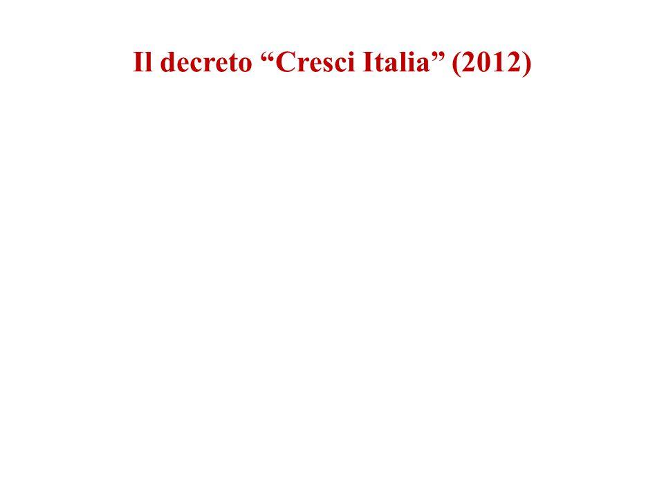 """Il decreto """"Cresci Italia"""" (2012)"""