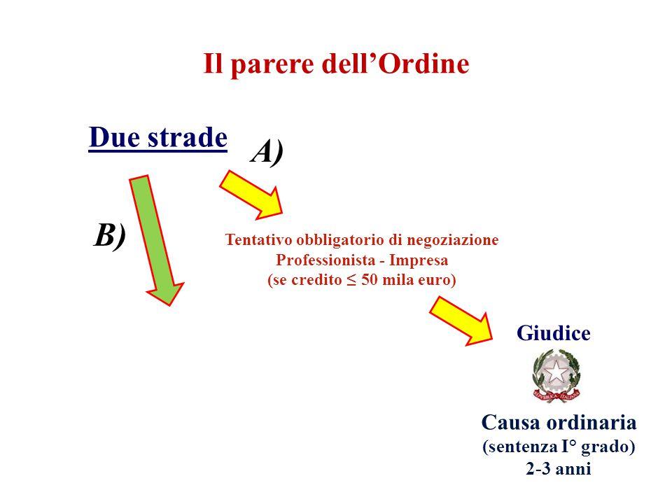 Il parere dell'Ordine Due strade Tentativo obbligatorio di negoziazione Professionista - Impresa (se credito ≤ 50 mila euro) Giudice Causa ordinaria (
