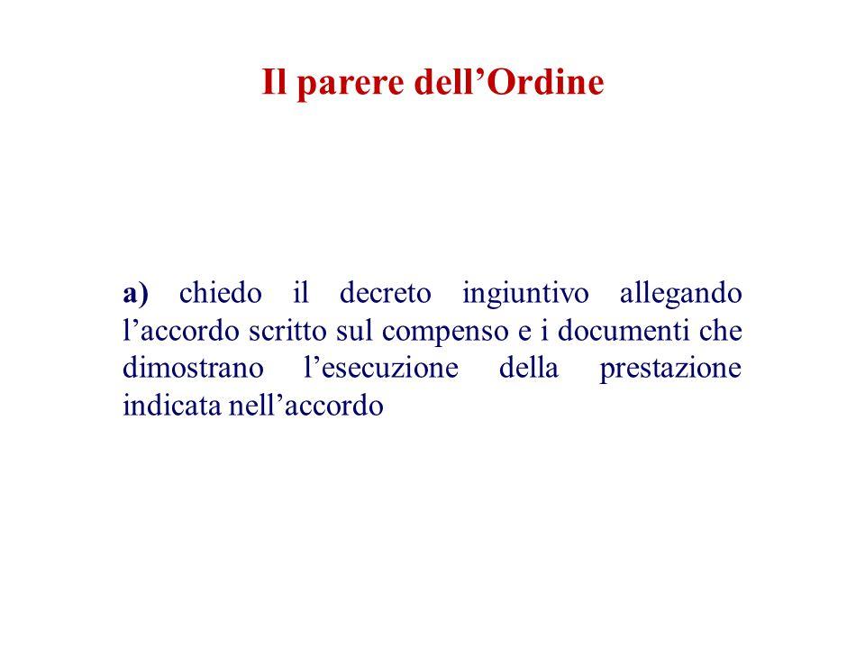 Il parere dell'Ordine a) chiedo il decreto ingiuntivo allegando l'accordo scritto sul compenso e i documenti che dimostrano l'esecuzione della prestaz