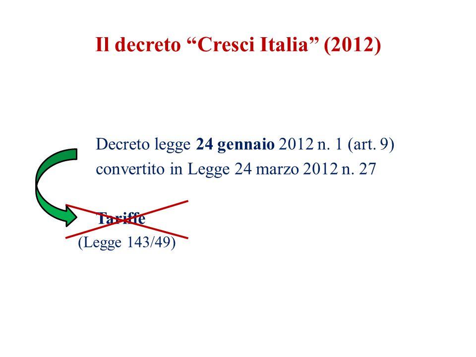 """Decreto legge 24 gennaio 2012 n. 1 (art. 9) convertito in Legge 24 marzo 2012 n. 27 Tariffe (Legge 143/49) Il decreto """"Cresci Italia"""" (2012)"""