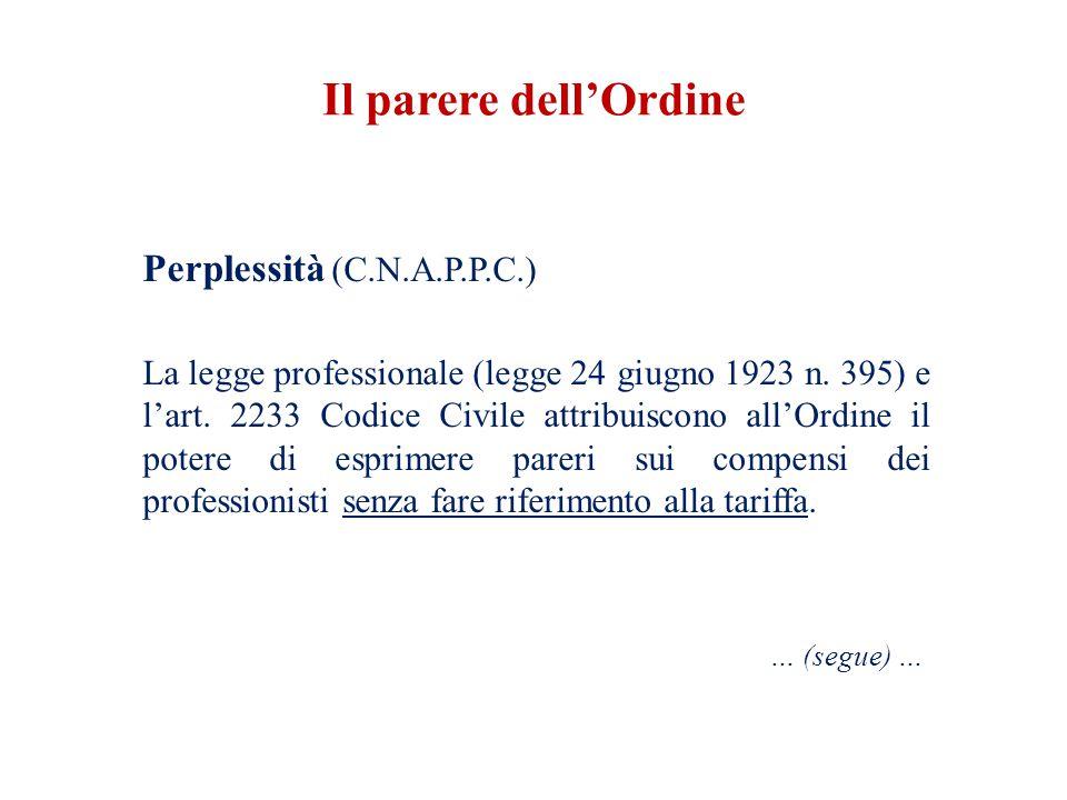 Perplessità (C.N.A.P.P.C.) La legge professionale (legge 24 giugno 1923 n. 395) e l'art. 2233 Codice Civile attribuiscono all'Ordine il potere di espr
