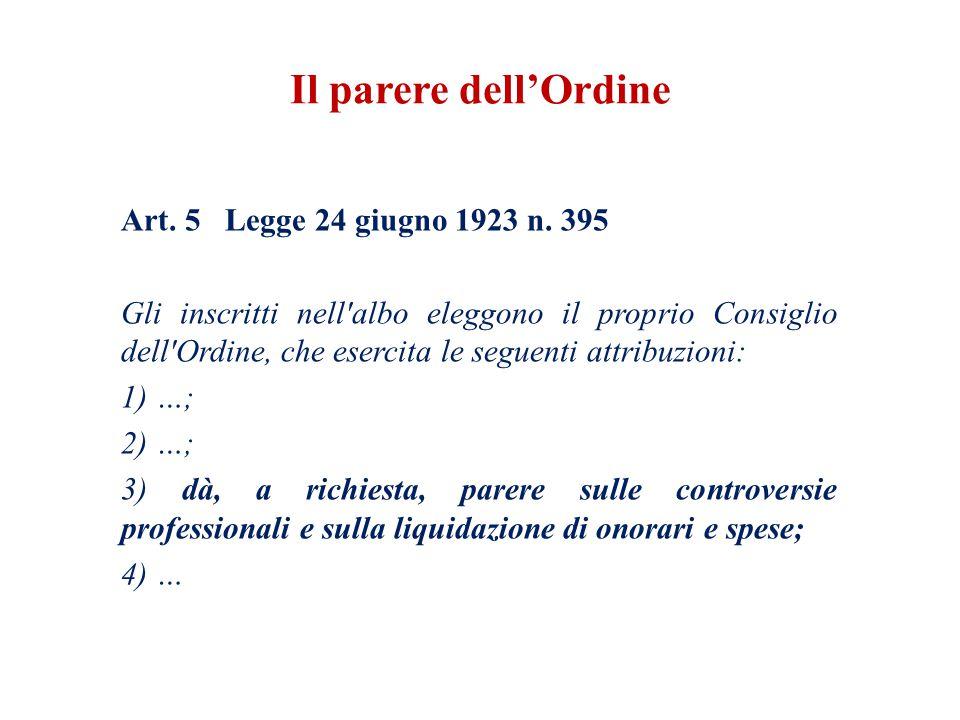 Art. 5 Legge 24 giugno 1923 n. 395 Gli inscritti nell'albo eleggono il proprio Consiglio dell'Ordine, che esercita le seguenti attribuzioni: 1) …; 2)