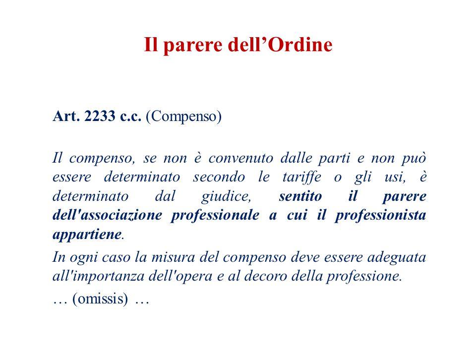 Art. 2233 c.c. (Compenso) Il compenso, se non è convenuto dalle parti e non può essere determinato secondo le tariffe o gli usi, è determinato dal giu