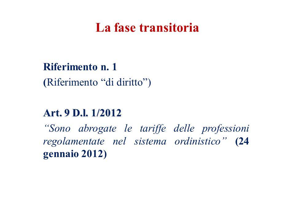 """Riferimento n. 1 (Riferimento """"di diritto"""") Art. 9 D.l. 1/2012 """"Sono abrogate le tariffe delle professioni regolamentate nel sistema ordinistico"""" (24"""
