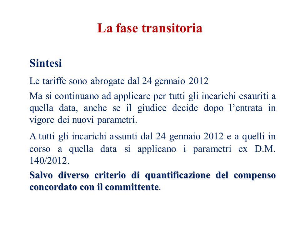 Sintesi Le tariffe sono abrogate dal 24 gennaio 2012 Ma si continuano ad applicare per tutti gli incarichi esauriti a quella data, anche se il giudice