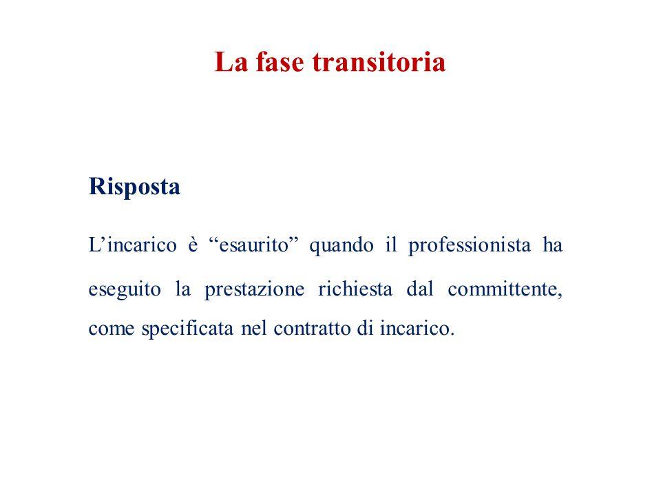 """Risposta L'incarico è """"esaurito"""" quando il professionista ha eseguito la prestazione richiesta dal committente, come specificata nel contratto di inca"""