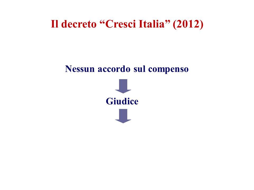 Il decreto Cresci Italia (2012) Nessun accordo sul compenso Giudice Parametri