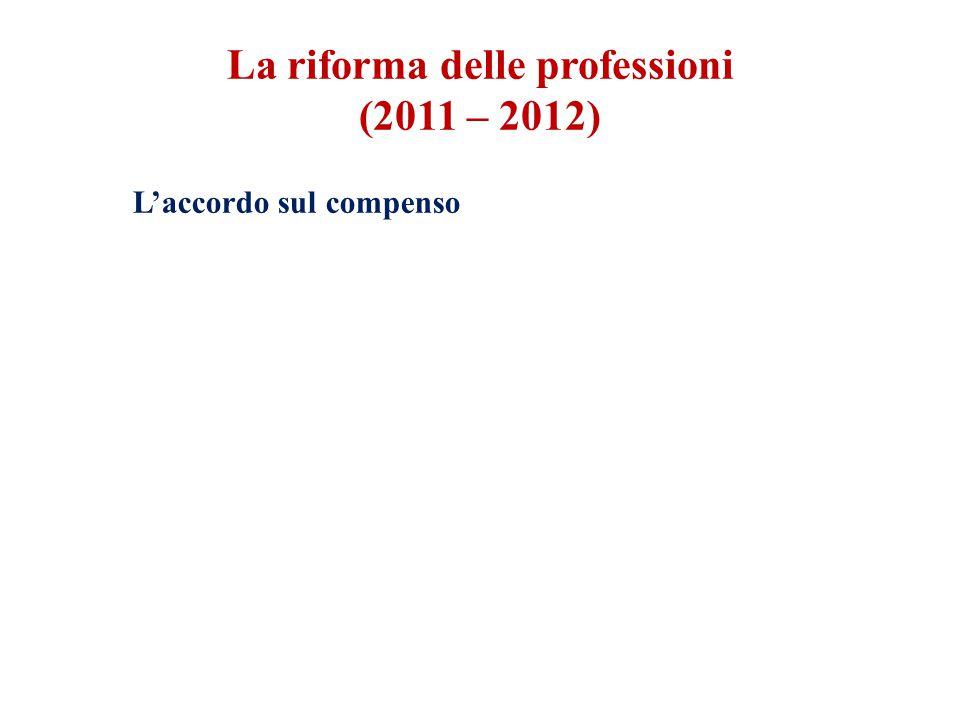 L'accordo sul compenso La riforma delle professioni (2011 – 2012)