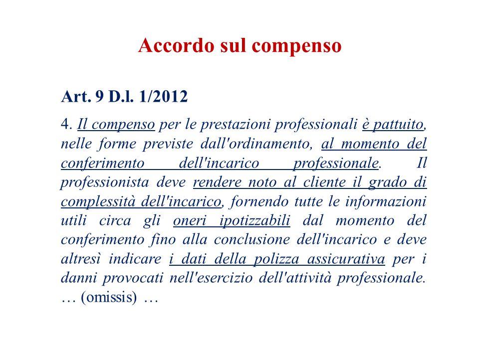 Domanda L'accordo sul compenso con il committente è un obbligo per il professionista .