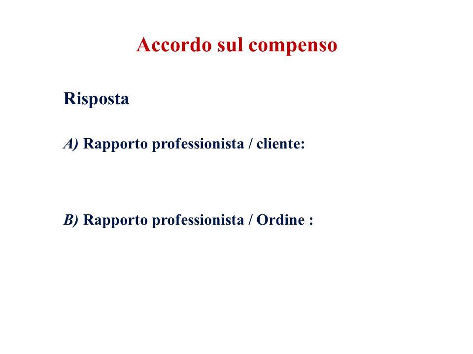 Risposta A) Rapporto professionista / cliente: l'accordo è un onere per il professionista.