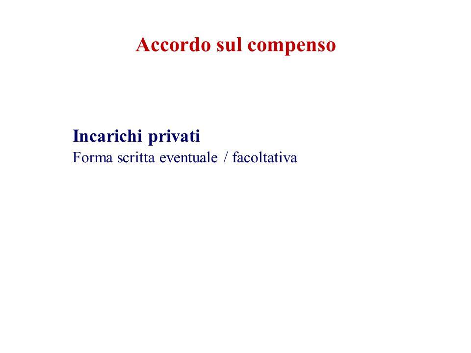 Incarichi privati Forma scritta eventuale / facoltativa Accordo sul compenso