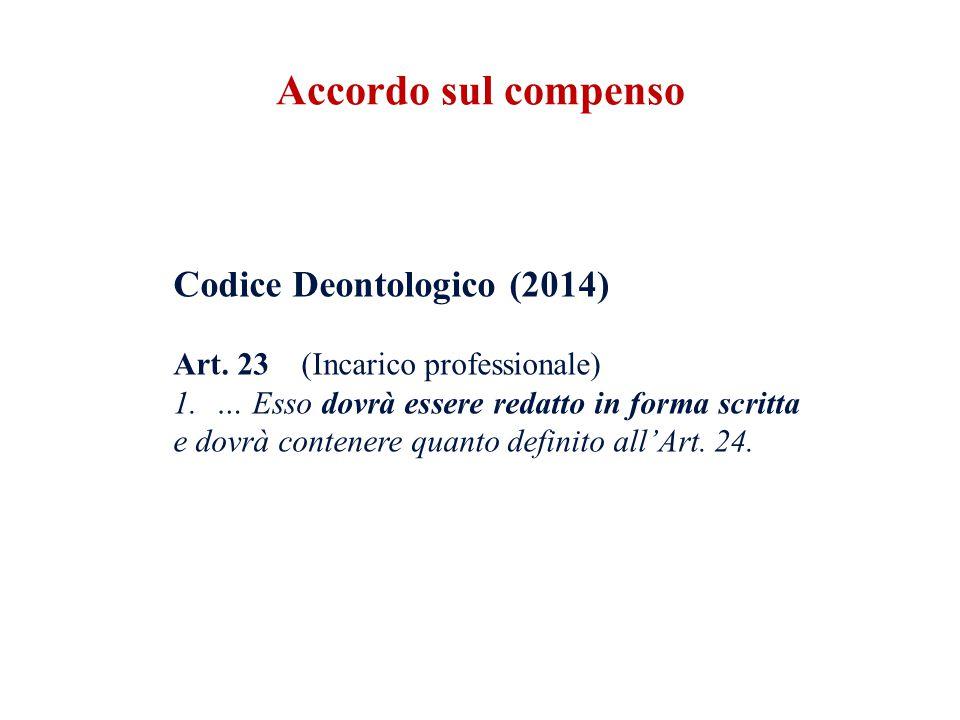 Codice Deontologico (2014) Art. 23 (Incarico professionale) 1. … Esso dovrà essere redatto in forma scritta e dovrà contenere quanto definito all'Art.