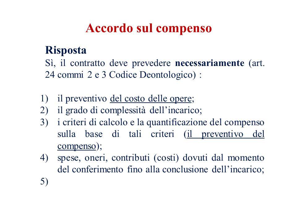 Risposta Sì, il contratto deve prevedere necessariamente (art. 24 commi 2 e 3 Codice Deontologico) : 1)il preventivo del costo delle opere; 2)il grado