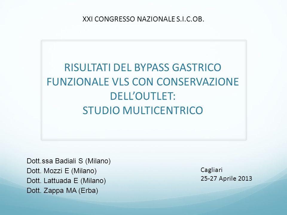 RISULTATI DEL BYPASS GASTRICO FUNZIONALE VLS CON CONSERVAZIONE DELL'OUTLET: STUDIO MULTICENTRICO Dott.ssa Badiali S (Milano) Dott. Mozzi E (Milano) Do