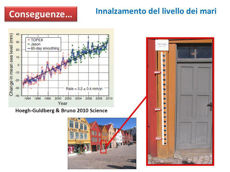Conseguenze… Innalzamento del livello dei mari Hoegh-Guldberg & Bruno 2010 Science