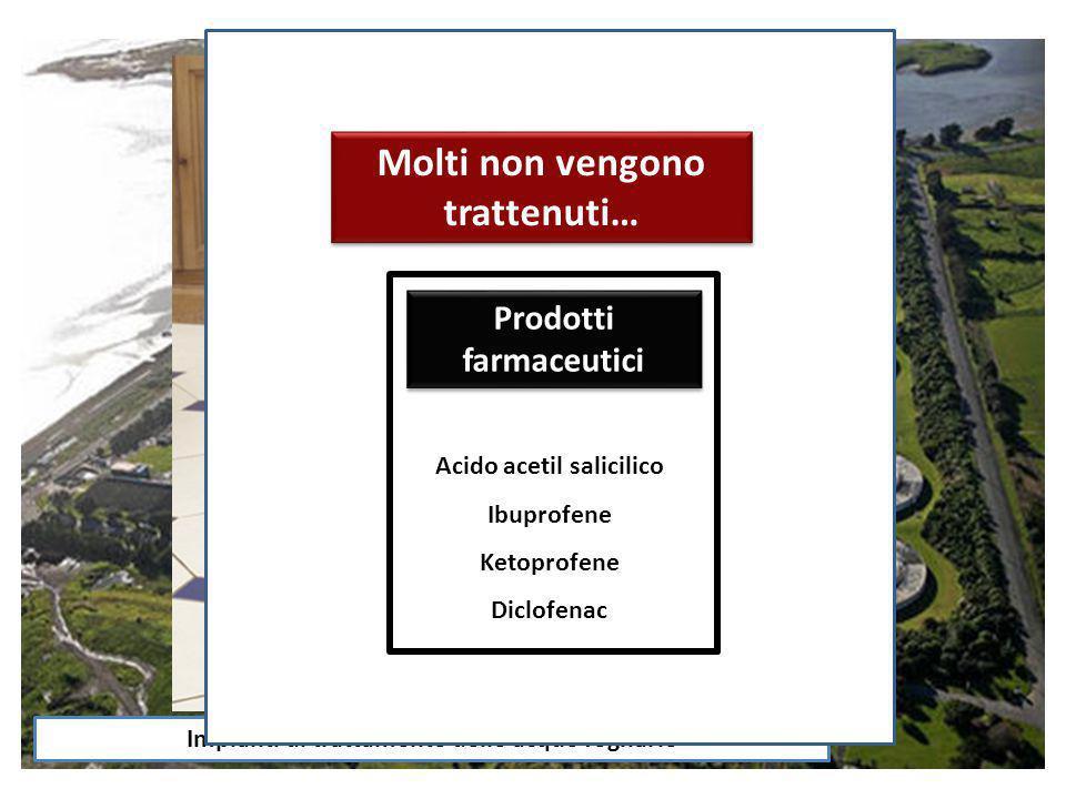 Impianti di trattamento delle acque fognarie Composti industriali ???? Molti non vengono trattenuti… Prodotti farmaceutici Acido acetil salicilico Ibu
