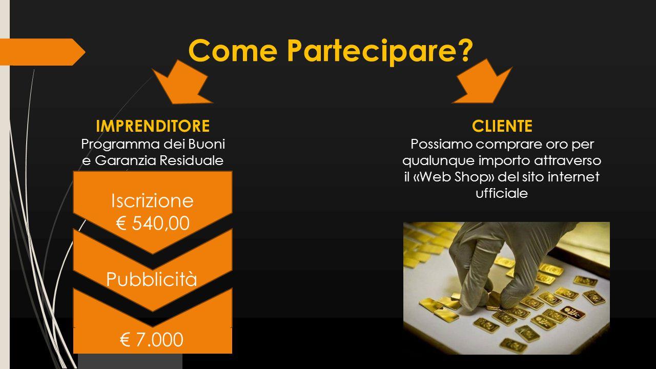 CLIENTE Possiamo comprare oro per qualunque importo attraverso il «Web Shop» del sito internet ufficiale IMPRENDITORE Programma dei Buoni e Garanzia R
