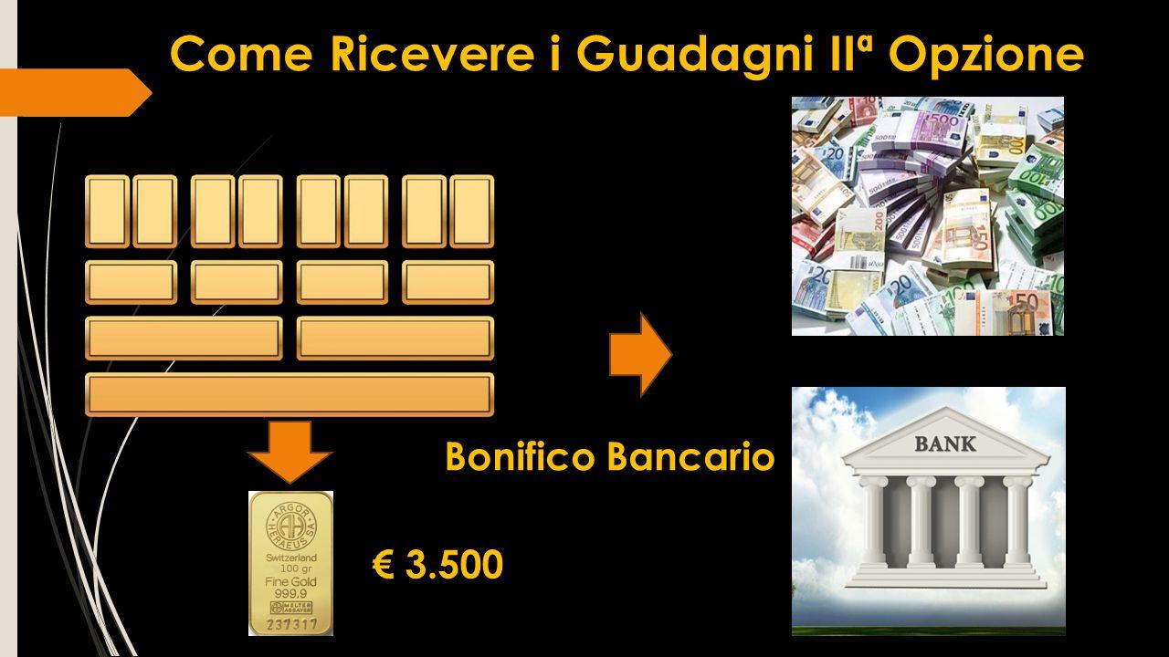 Come Ricevere i Guadagni IIª Opzione € 3.500 Bonifico Bancario
