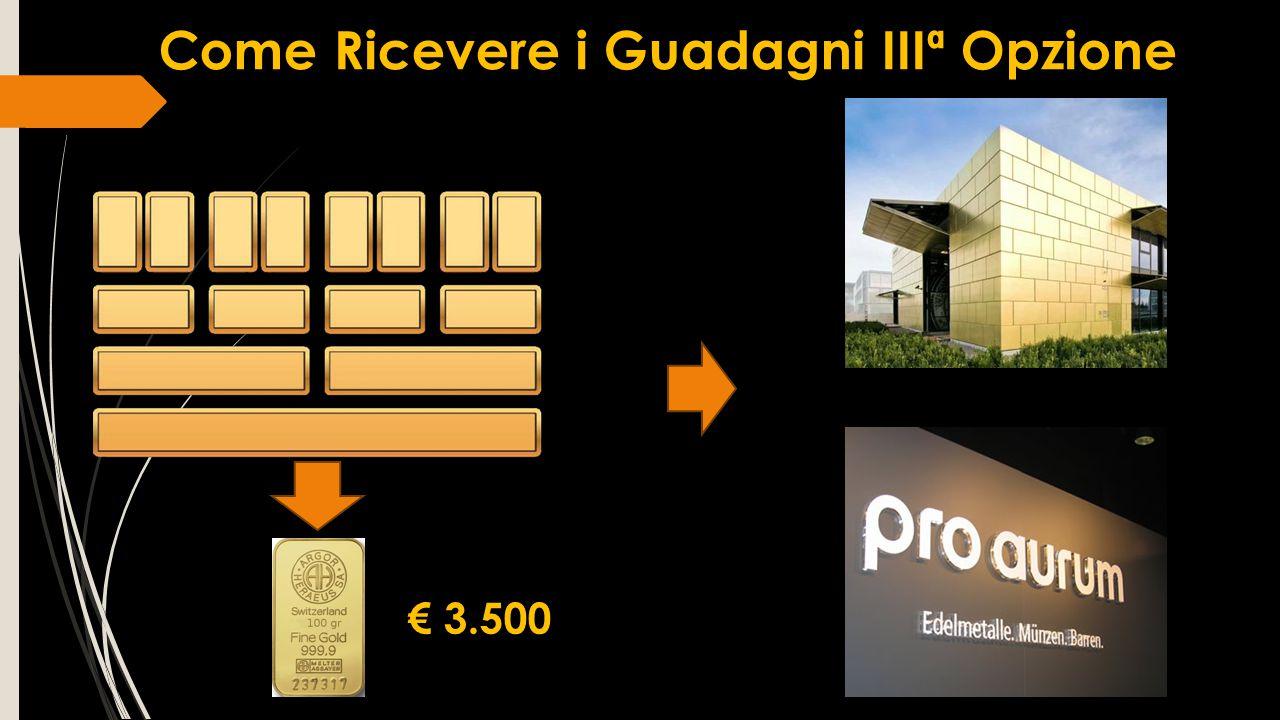 Come Ricevere i Guadagni IIIª Opzione € 3.500