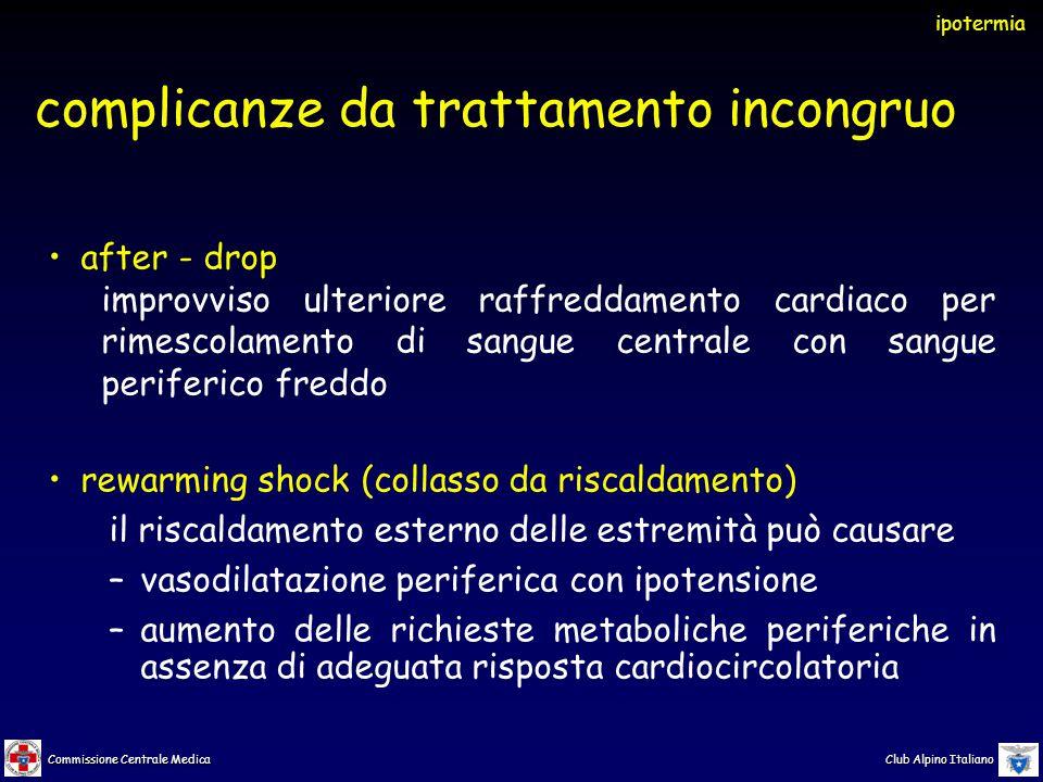 Commissione Centrale Medica Club Alpino Italiano complicanze da trattamento incongruo after - drop improvviso ulteriore raffreddamento cardiaco per ri