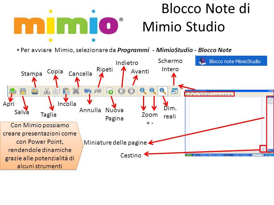 Blocco Note di Mimio Studio Per avviare Mimio, selezionare da Programmi - MimioStudio - Blocco Note Apri Salva Stampa Taglia Copia Incolla Cancella Annulla Ripeti Nuova Pagina Indietro Avanti Zoom + - Dim.