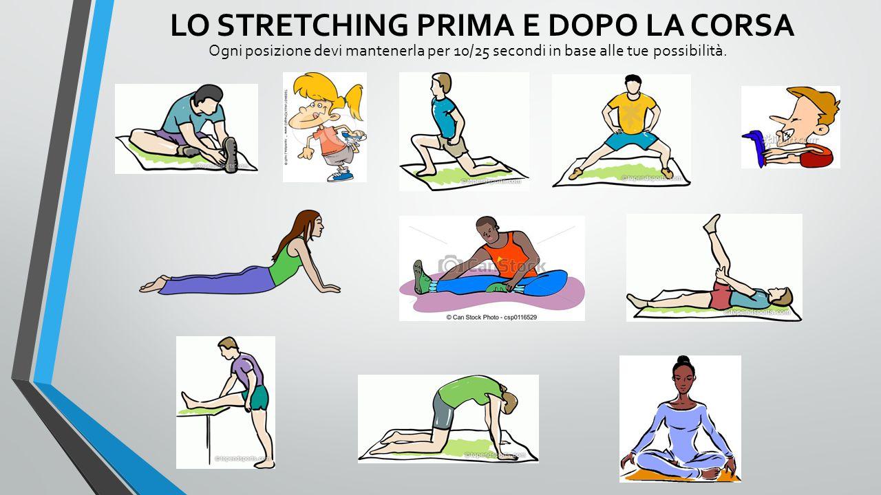 LO STRETCHING PRIMA E DOPO LA CORSA Ogni posizione devi mantenerla per 10/25 secondi in base alle tue possibilità.