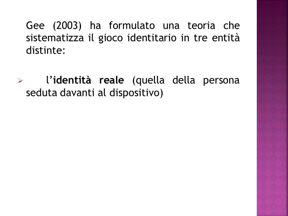 Gee (2003) ha formulato una teoria che sistematizza il gioco identitario in tre entità distinte:  l'identità reale (quella della persona seduta davanti al dispositivo)  l'identità virtuale (le caratteristiche del personaggio che si muove nel videogioco)