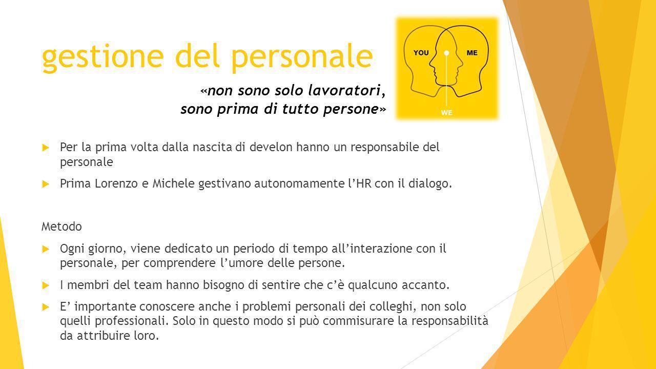 gestione del personale  Per la prima volta dalla nascita di develon hanno un responsabile del personale  Prima Lorenzo e Michele gestivano autonomamente l'HR con il dialogo.