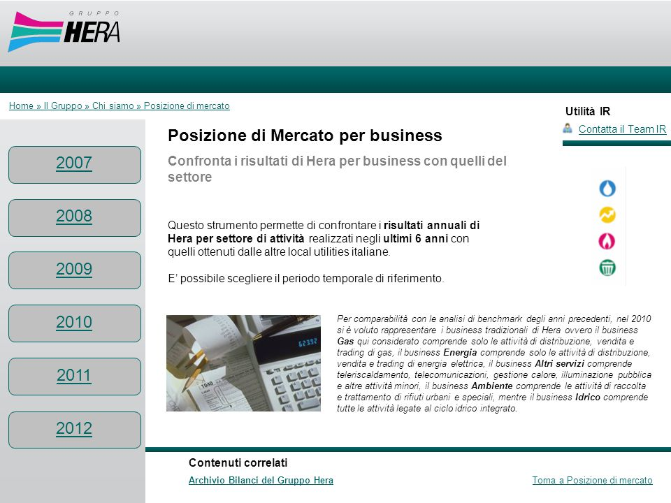 Utilità IR Posizione di Mercato per business Confronta i risultati di Hera per business con quelli del settore Questo strumento permette di confrontar
