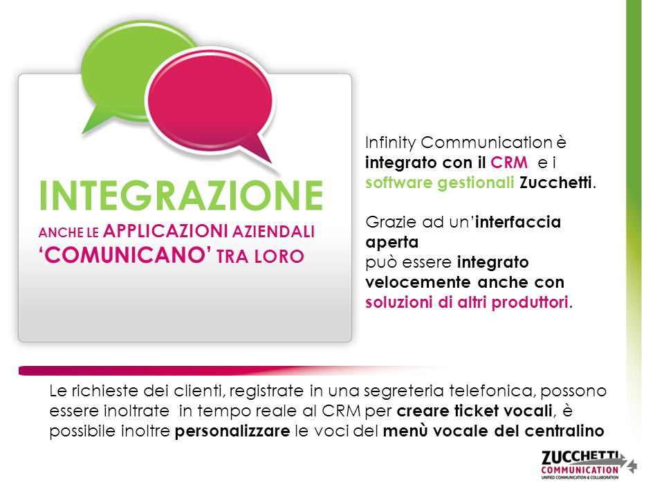 Infinity Communication è integrato con il CRM e i software gestionali Zucchetti.