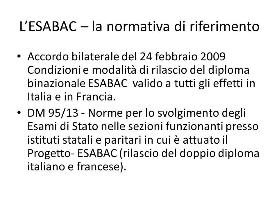 L'ESABAC – la normativa di riferimento Accordo bilaterale del 24 febbraio 2009 Condizioni e modalità di rilascio del diploma binazionale ESABAC valido a tutti gli effetti in Italia e in Francia.