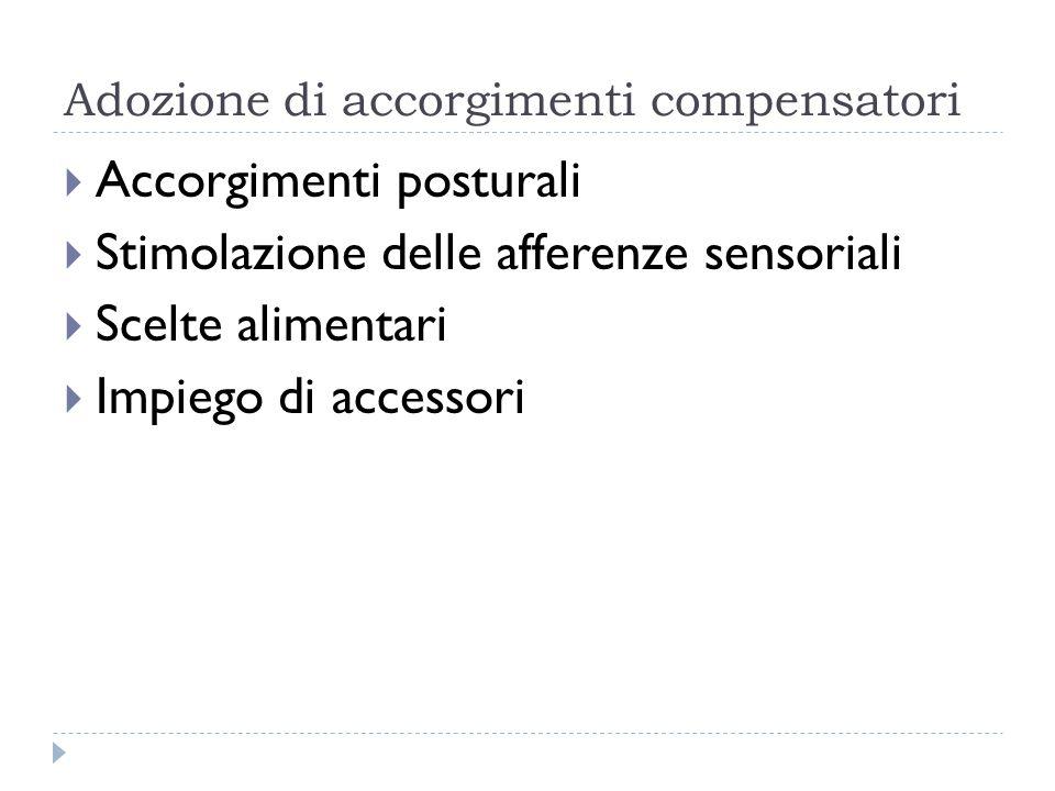 Adozione di accorgimenti compensatori  Accorgimenti posturali  Stimolazione delle afferenze sensoriali  Scelte alimentari  Impiego di accessori
